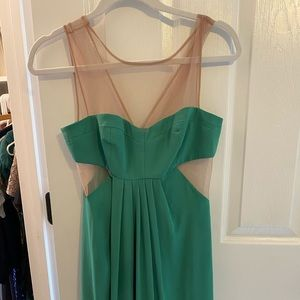 Green dress with nude mesh